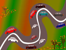 Countryside road in autumn illustration Stock Photography
