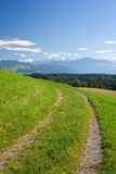 Countryside road, green field, mountains Stock Photos