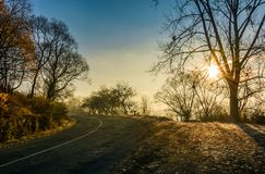 Countryside road in late autumn fog at sunrise Stock Photos