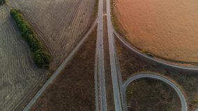Countryside road nature landscape aerial view. Countryside road. Journey traveling. Nature landscape. Skyline sunrise aerial view stock video