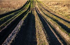 Countryside road overgrown with grass Royalty Free Stock Image