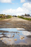 Countryside road in poor condition on the outskirts of Bahrija,. Malta Royalty Free Stock Photo