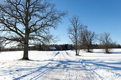 Countryside road and rustic landscape by winter Stock Images