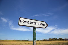 In the countryside a road sign with the inscription home sweet h Stock Photography
