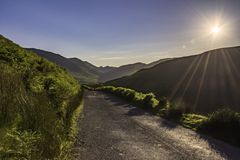 Stunning landscape of Lake District National Park,Cumbria,Uk. Countryside road with view on mountain valley in Lake District National Park,Cumbria,North West Royalty Free Stock Photo