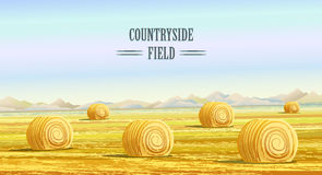 Countryside landscape vector illustration with haystacks on fields. Rural area landscape  Stock Images