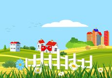 Countryside rural green meadow vector landscape, vector illustration