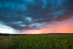 Countryside Rural Meadow Landscape Under Scenic Dramatic Sky Aft Stock Photos