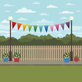 Countryside scene with bunting Stock Photos
