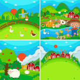 Countryside scene with farmer and animals Stock Photography