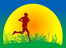 Countryside scene with runner vector Royalty Free Stock Photography