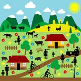 Countryside scene with pictograms Stock Photography