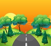 Countryside scene with road at sunset royalty free illustration