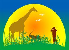 Countryside scene with wildlife and man vector Stock Images