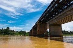 Railway bridge crossing Sungai Perak river located in Perak State,Malaysia Royalty Free Stock Images