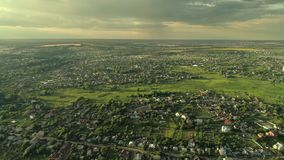 Countryside scenery suburbs flyover town greenery stock footage