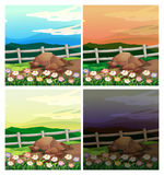 Countryside scenes with four different sky colors Royalty Free Stock Photos