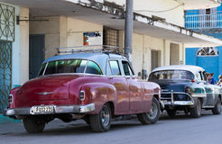 In the countryside in series parked vintage car in Cuba Royalty Free Stock Image