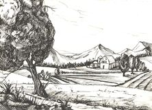 Countryside sketch.  illustration Royalty Free Stock Photography