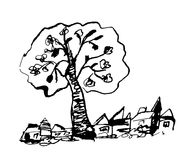 Countryside sketch with tree Royalty Free Stock Photos