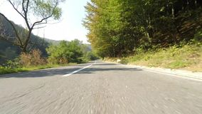Countryside speeding car with front camera stock video