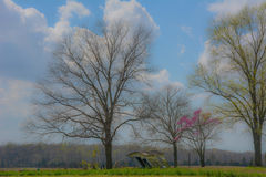 Countryside in Spring with Leaning Barn Royalty Free Stock Photography
