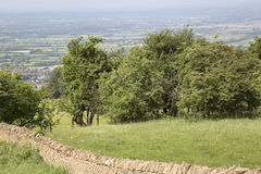 Countryside with Stone Wall, Broadway; Cotswolds Royalty Free Stock Photos