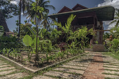 Countryside street near Siem Reap with houses Stock Image