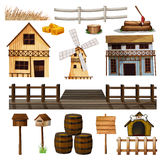 Countryside style of buildings and other objects. Illustration Royalty Free Stock Photography
