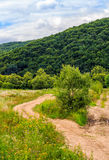 Countryside summer landscape with field, forest and mountain rid Royalty Free Stock Photography