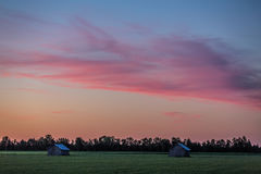 Countryside after sunset. Beautiful colors in the sky after sunset. It's midsummer in Finland Royalty Free Stock Images