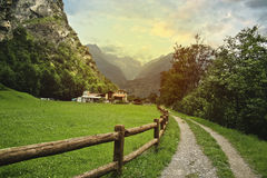 Countryside in Swiss Alps Royalty Free Stock Images