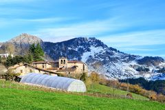 Rural tourism at Basque Country fields, Spain. Countryside town located at Basque Country in Aramaio valley, Spain Royalty Free Stock Photography