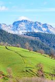 Rural tourism at Basque Country fields, Spain. Countryside town located at Basque Country in Aramaio valley, Spain Stock Photos