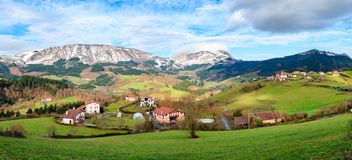 Rural tourism at Basque Country fields, Spain. Countryside town located at Basque Country in Aramaio valley, Spain Stock Photo
