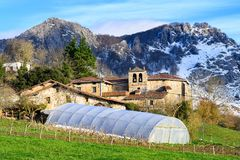 Rural tourism at Basque Country fields, Spain. Countryside town located at Basque Country in Aramaio valley, Spain Stock Photography