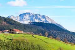 Rural tourism at Basque Country fields, Spain. Countryside town located at Basque Country in Aramaio valley, Spain Stock Image