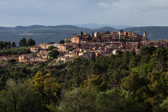 Countryside town. A view of historic Rousillon, France at sunset royalty free stock image