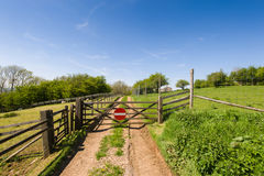 Countryside track. Closed gate on countryside track. Broadway Hills, UK Stock Photo