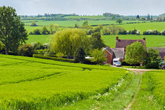 Countryside track. English countryside landscape with a footpath leading through fields Stock Images