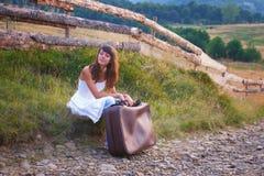 Countryside traveler girl Stock Photos