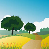 Countryside Trees and Natural Green. Land Background Stock Image