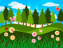 Countryside Trees Represents Woods Branches And Meadow. Spring Countryside Showing Tree Trunks And Scene Stock Photos