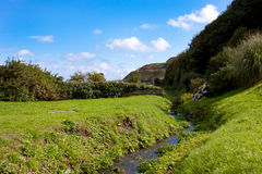 Countryside Valley Landscape with Stream Royalty Free Stock Photos