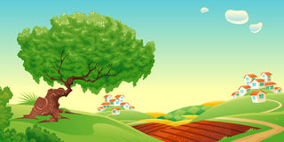 Countryside. Vector and cartoon landscape Royalty Free Stock Photography