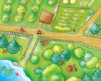 COUNTRYSIDE - view from above. View from above of trees, cultivated fields, paths and country people. Can you see little red cup and the wolf, there? Funny royalty free illustration