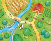 COUNTRYSIDE - aerial view vector illustration