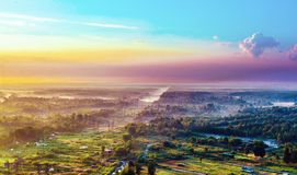 Countryside, view from above and the morning sky. Country landscape, the top view and the morning sky, summer landscape Stock Photography