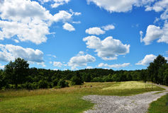 Countryside view. Blue sky with clouds, countryside Stock Photography