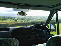 Countryside view. Through camper van windscreen in Wales UK Stock Image